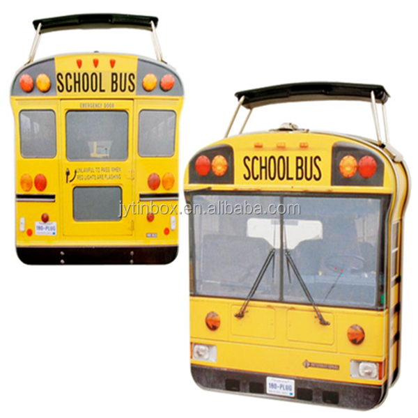 Wholesale school bus shaped candy tin with handle