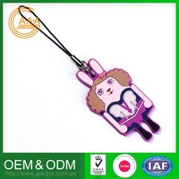 Popular Wholesale Custom Oem Phone Hanging Charm Soft Pvc Rubber Cell Phone Strap