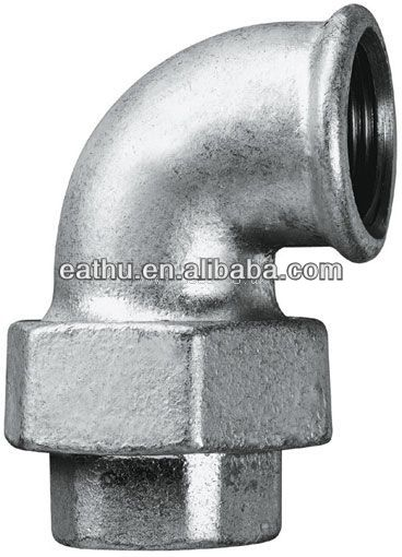 Black and galvanized malleable iron pipe fitting elbow