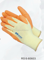 RS SAFETY Textured natural rubber palm coated glove in open back dipped Latex glove with crinkled finished