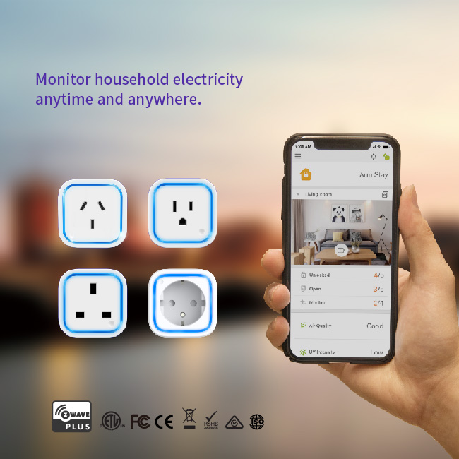 Smartphone app control smart home Z-wave multi plug socket 220v with LED ring