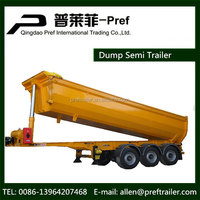 3 axle heavy duty dump semi trailer tipper truck trailer with cylinder for tipping trailer