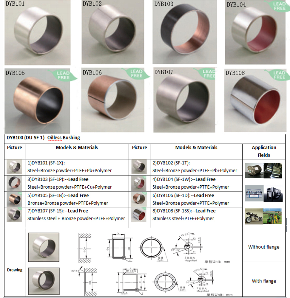 dyb-1 slide bush bearing/slide bearing bush/DYB100 DYB200 DYB300 DYB500 DYB600 DYB900 du bushing oil free bush