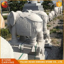 Small White Granite Garden Elephant Stone Carving Sculpture