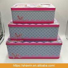 Sets of Little Baby Girl Prints Rectangular Nesting Tins with Lids for Wedding