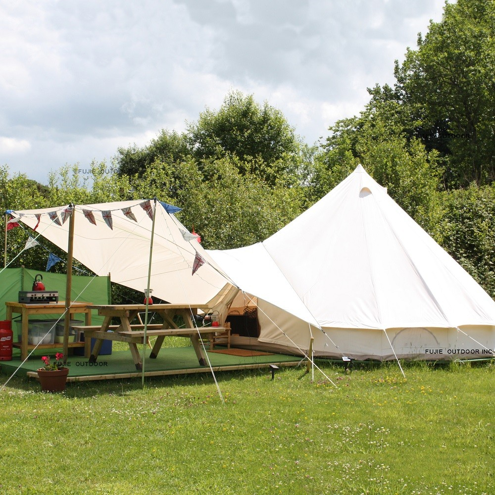 In Stock 3M Glamping Cotton Canvas Bell <strong>Tent</strong> for sale