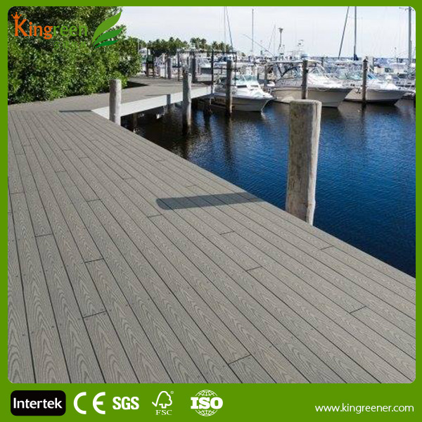 Solid High Strength Wood Plastic Composite Decking Floor / Outdoor Timber Decking Tiles
