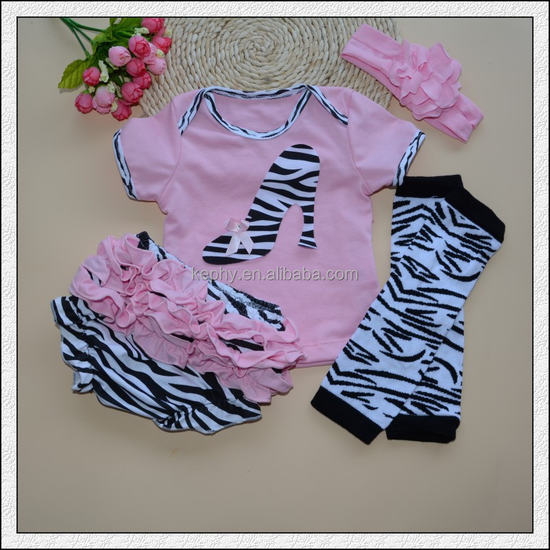 baby cream color short sleeve t shirt with bloomers headband and leg warmers 4 pcs set