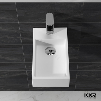 Cube wall hung basin solid surface washbasin