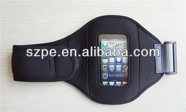 Black Neoprene adjustable jogging running cycling gym sport armband for Iphone 5