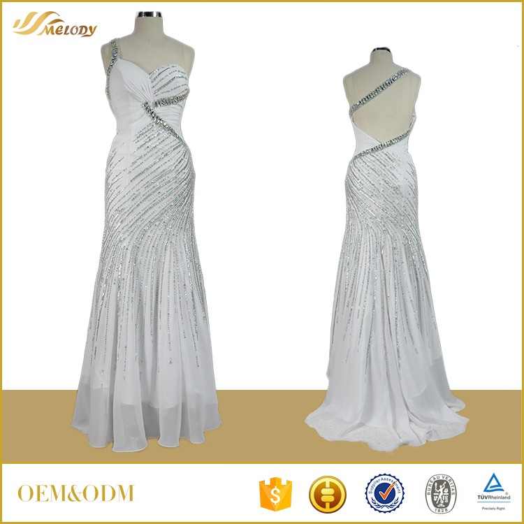 High fashion designs white beaded summer dresses sexy without sleeve