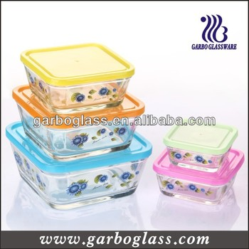 Square Color Chage 5 PCS Glass Bowl Set for food storage or as lunch box