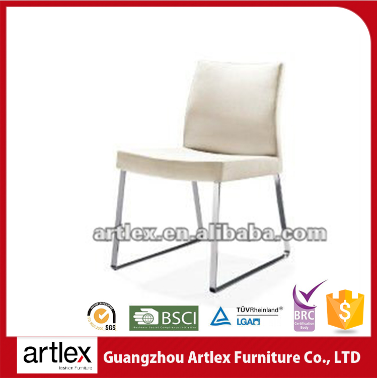 Classic Designer Leather White Dining Chair With Chrome Leg