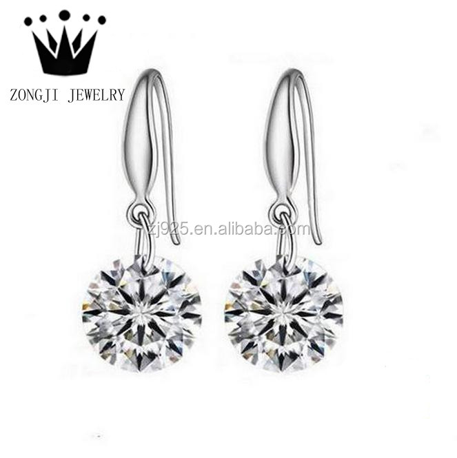 925 Sterling Silver Material Drop Earrings Diamond 2016 Women Latest Design