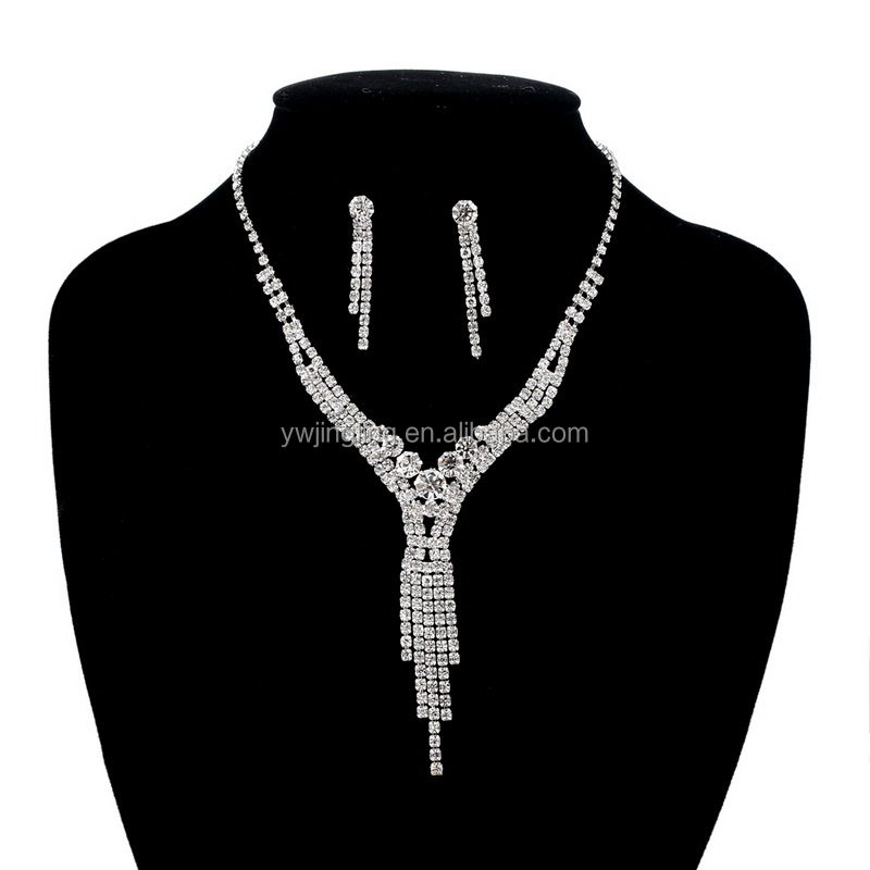 New fashion necklace earring set wedding jewelry sets for brides