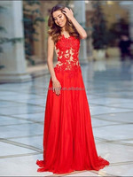 Hot red sexy high quality lace appliqued a line chiffon prom dress sheer back long prom dress