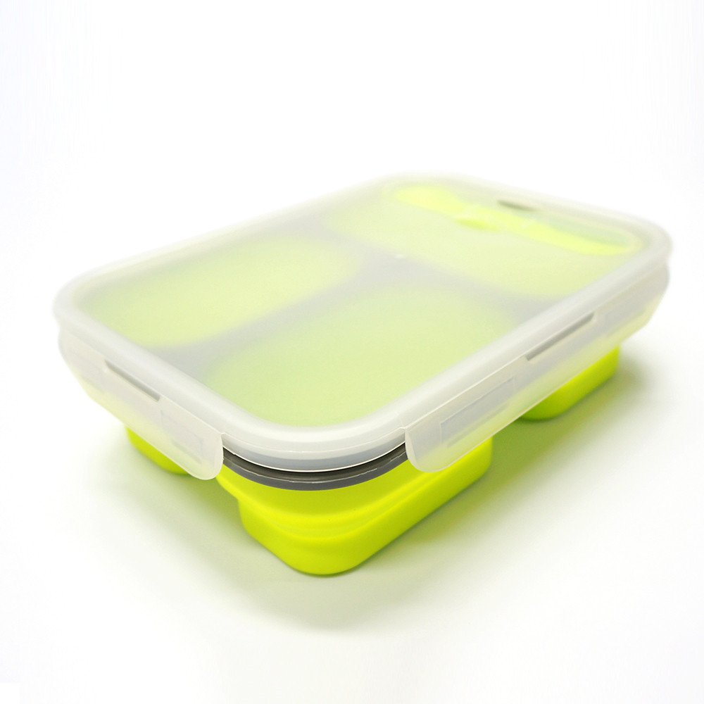 Food-grade FDA LFGB approved Collapsible 3 Compartment Silicone Bento Lunch Box
