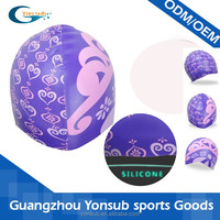 GIRLS favourite crown pattern silicone swimming caps for kids