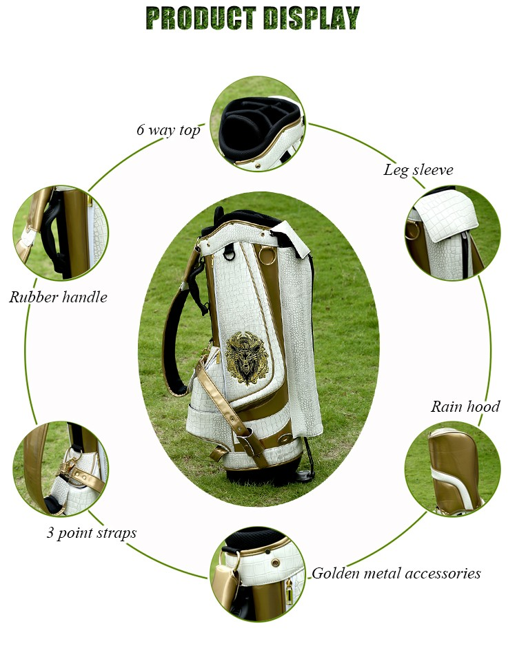 Luxury PU Leather Golf Stand Bag