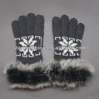 NEWEST STYLE KNITTING LADIES GLOVES WITH FAUX FUR CUFF