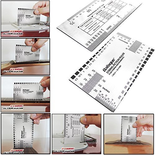 Guitar String Action Ruler Gauge Tool - Stainless Steel Double Sided Multi Function Guitar Luthier Accurate String Measurement