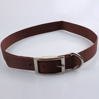 New Custom Stylish Pet Products Pure Color Nylon Strong Metal Buckle Adjustable Dog Choke Collar