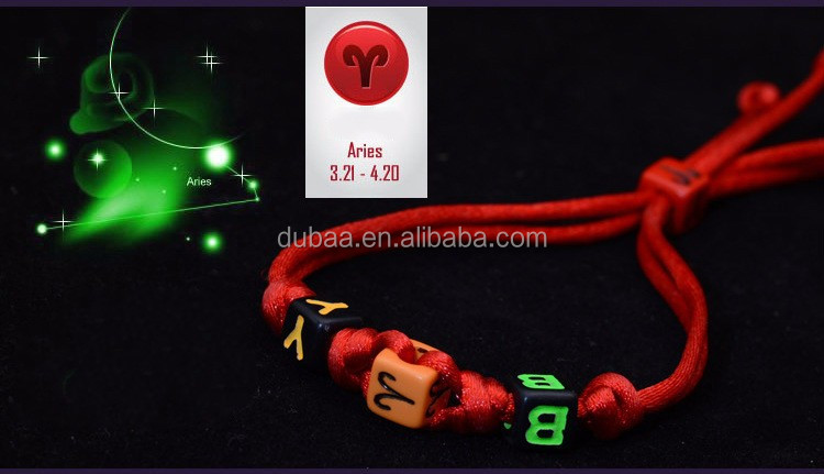 Latest Colorful Handmade Handicraft Braided Vintage 12 Zodiac Sign Charm Bracelet