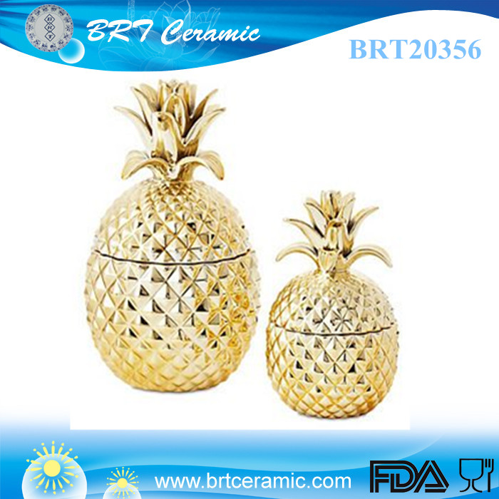 popular ceramic pineapple cookie jar with lid