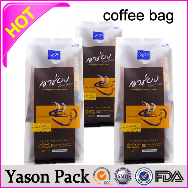 YASON coffee sachet/instant coffee bag/tin-tie coffee bag high sealing foil coffee bags with valve biodegradable coffee bags