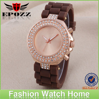 High quality luxury brown silicone diamond watches promotional colorful watch