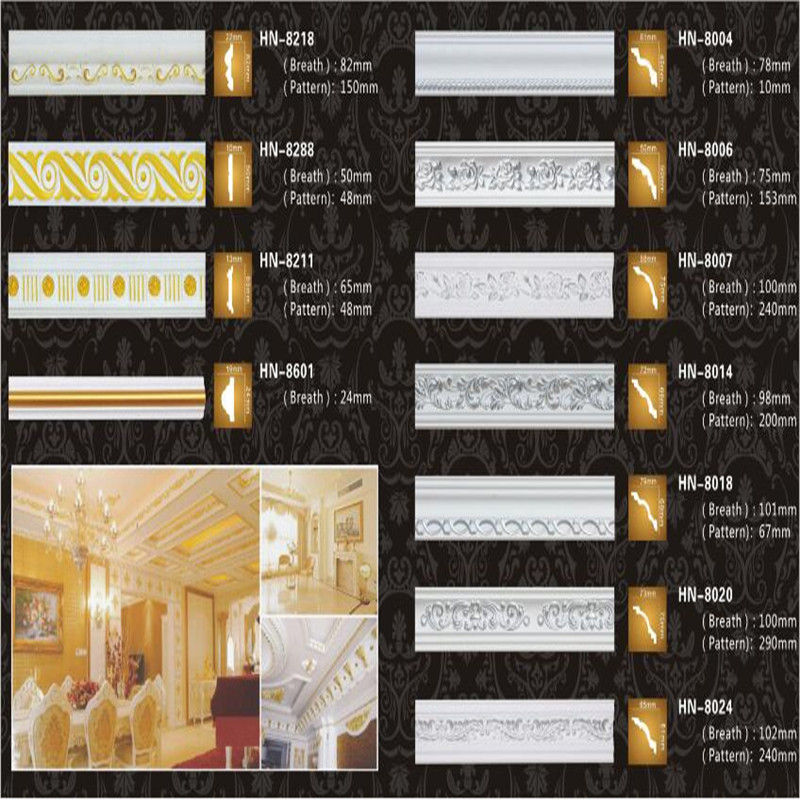 PU & Polyurethane Crown Moulding In Gold Foil Designs