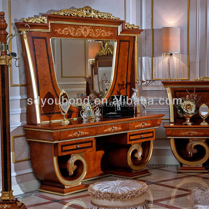 0038-1 Europe antique wooden dressing table designs for bedroom