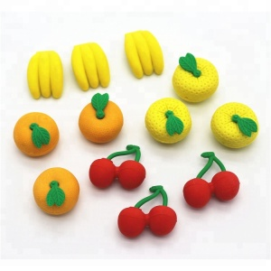 Promotional custom fruit shape cool 3d eraser rubber eraser for kids