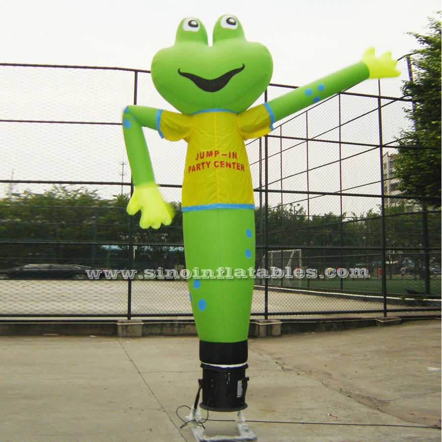 Outdoor 3 to 5 mts high green frog advertising inflatable dancing man with custom logo printed
