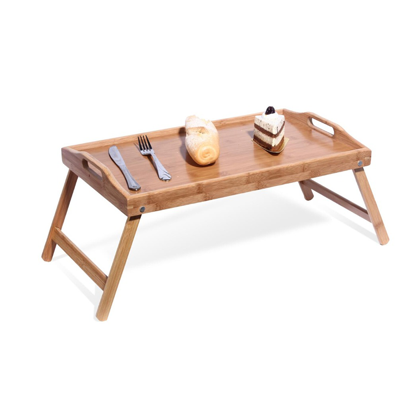 waterproof wooden bamboo food tea serving tray with folding legs