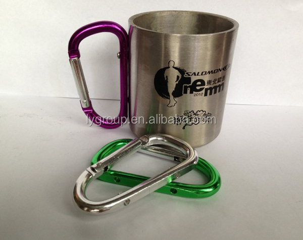 8oz stainless steel travel mug with carabiner hooker, 10oz doube wall drinking carabiner mug, 16oz Carabiner mug with any logo
