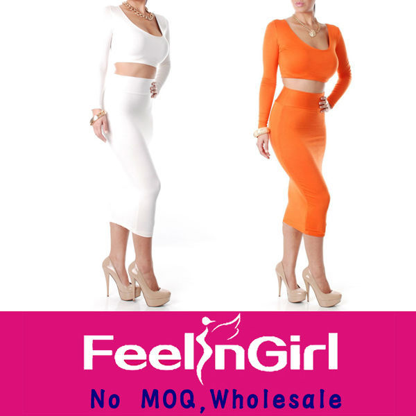 Wholesale White Or Orange Long Sleeve Two Piece Straight Fit Dresses