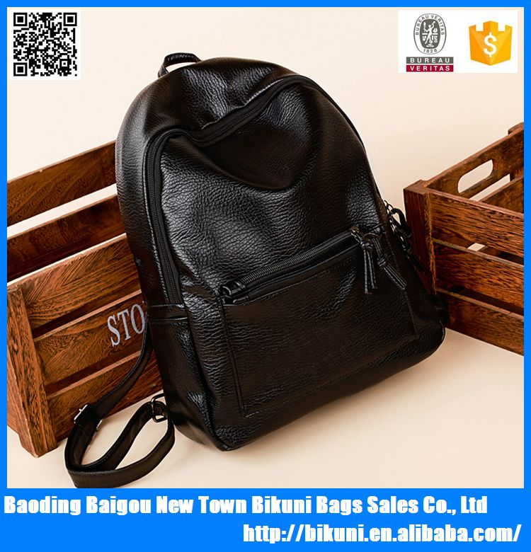 2017 Fashion PU black backpacks for girls students