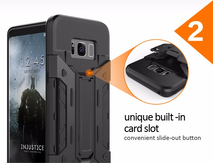 Promotional tpu pc shock absorption hybrid case for samsung galaxy s8,s8 shockproof case kickstand card slot