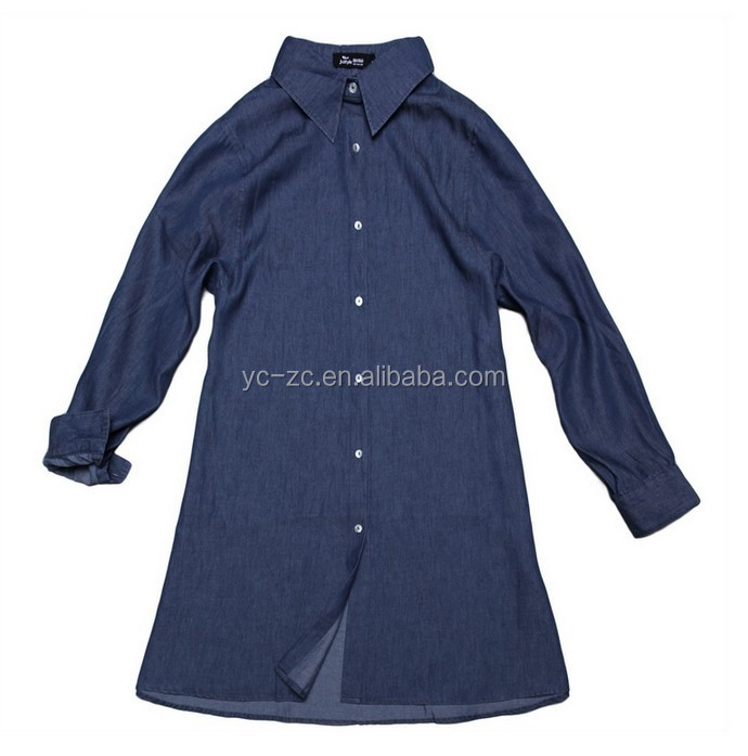 2015 new coming plus size women clothing denim shirt ladies top