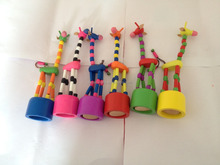 Lovely colorful wooden push up toy giraffe push button toy