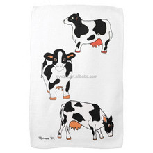 China Supply Black And White Cotton Cow Print Towel For Beach Kitchen