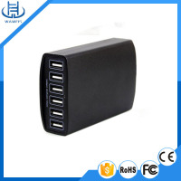 Black/White color 6 port usb mobile phone power adapter 5v 12a 60w battery charger