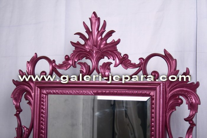 Antique Mirror - Finished Color - Girly Mirror with Magenta Color - Hand Carving Mirror
