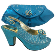 high quality Nigerian green wedding shoes, Italian blue design shoes and bags to matching 6118-25