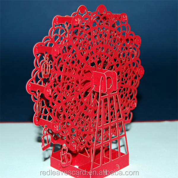 3D Paper Ferris Wheel Pop Up Card Collectible Greeting Cards Kirigami