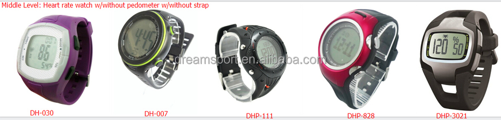 Built-in finger sensor heart rate watch with pedometer 2 in 1