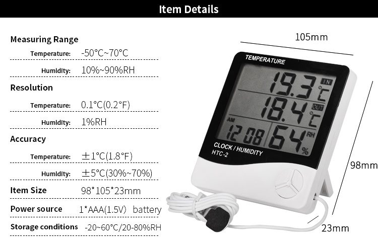 Digital LCD Thermometer Hygrometer Electronic Temperature Humidity Meter Weather Station Indoor Outdoor Tester Alarm Clock HTC-2