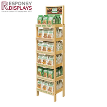 Pop Up Wooden Food And Snack Warmer Floor Display Soft Drink Stand