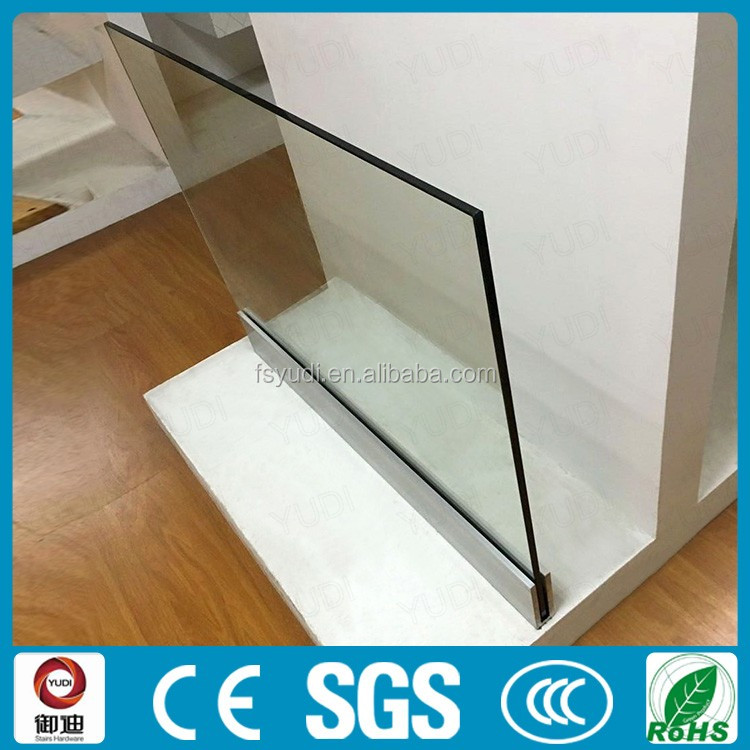 1/2 inch (12mm) floor mounted glass aluminum channel for railing/balustrade